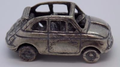 Vintage Solid Silver Italian Made Fiat 500 Car Miniature, Figurine, Stamped