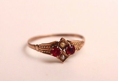 Antique Solid 14k Victorian Ring with Ruby and Seed Pearl, Delicate