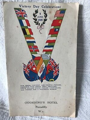 WWII Victory Day Celebration Menu - 8th June 1946 - Oddenino's Hotel London