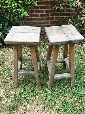 Vintage shabby chic Wooden Bar Stools