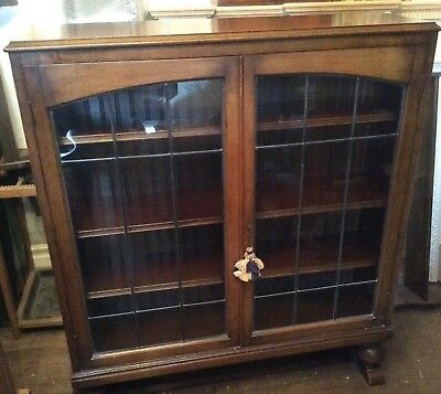Antique Edwardian Bookcase With Leaded Glass