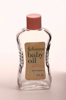 Vintage Johnson's Baby Oil Glass Bottle, 1950s, Collectible, Good Condition