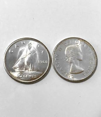 CANADA 1960 Ch UNC Silver 10-cent Dime from Mint Roll - MS64 or higher!!