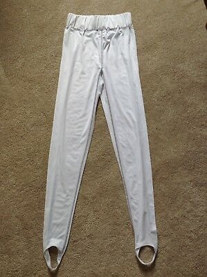Ladies Equestrian White Jeggings Tights With Stirrups Size 12-14
