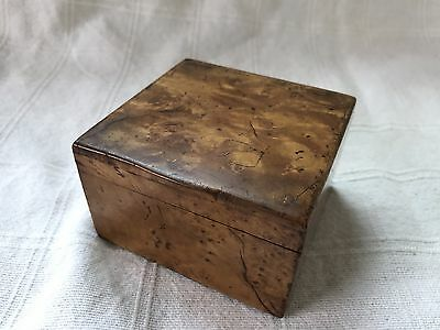 Small Vintage Wooden Trinket Box - maybe burr walnut