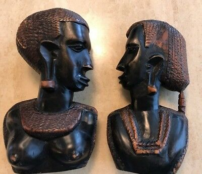 African Vintage Art Hand-carved Wood Beautiful Head Bust Statue NUDE