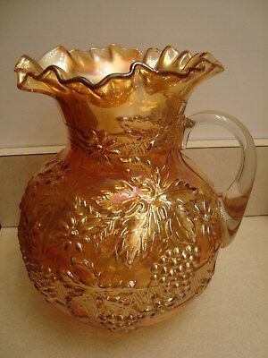 Vintage Dugan Carnival Glass Pitcher ~~ Floral and Grape Pattern~~ Very Pretty!!
