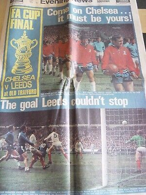 1970 Evening News : Fa Cup Final Replay Edition : Chelsea V Leeds United