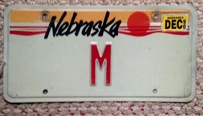 1990 Nebraska  Vintage Single Letter Low Number Digit Vanity License Plate # M