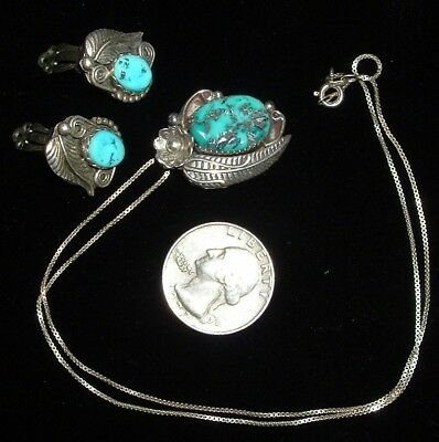 Vintage, Sterling Silver & Morenci Turquoise, Necklace & Earrings