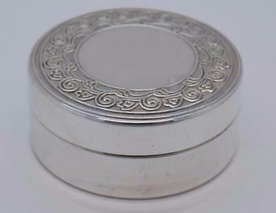 Vintage Solid Silver Italian Made Round Pill / Snuff Box - Stamped