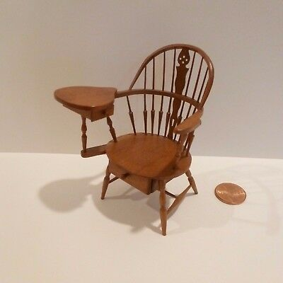William Clinger Hand Crafted Miniature Writing Chair W/2 Working Drawers Signed