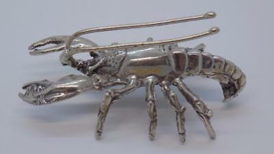 Vintage Solid Silver Italian Made Large Lobster Miniature, Figurine, Stamped