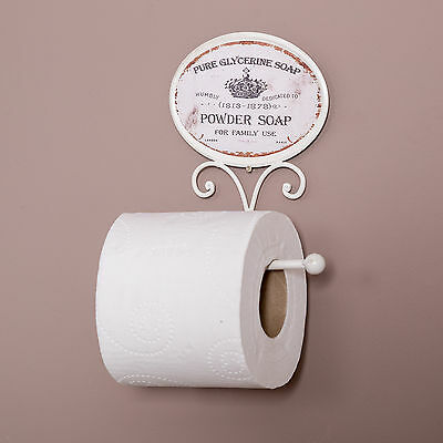Stylish Sturdy Powder Soap Wall Mounting Shabby Chic Toilet Roll Holder WC Home