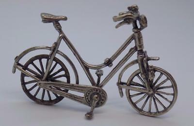 Vintage Solid Silver Italian Made Bicycle Miniature, Figurine, Stamped Dollhouse