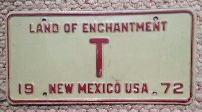 1972 New Mexico Vintage Single Letter Low Number Digit Vanity License Plate T