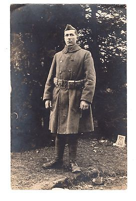 WWI RPPC Soldier in Overcoat with Ammunition Belt & 3rd Division Shoulder Patch
