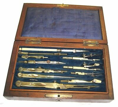 Antique French brass drawing instruments