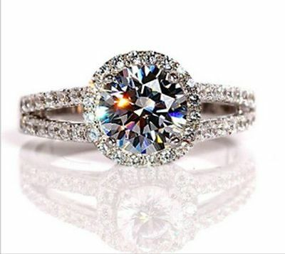 2ct diamond ring engagement proposal bridal wedding halo band ROUND- ALL SIZE