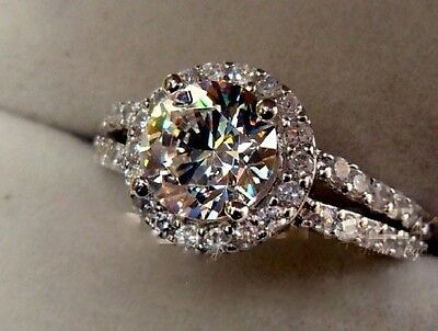 2ct AUTH diamond ring engagement proposal bridal wedding halo band SONA NSCD