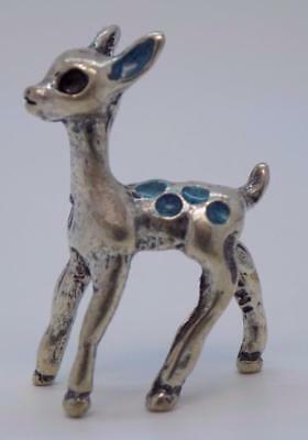 Vintage Solid Silver Italian Made Fawn Instrument Miniature, Figurine, Stamped