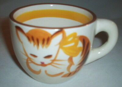 Stangl Pottery Kiddieware: 1965 GINGER CAT #5176: Handpainted Child's Cup:EXC:NR