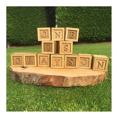 Personalised Alphabet Wooden Blocks Oak Any Name nursery decor