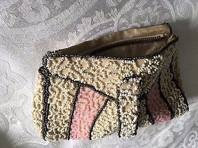 Vintage Beaded Purse Pink & Ivory 1930s1940s