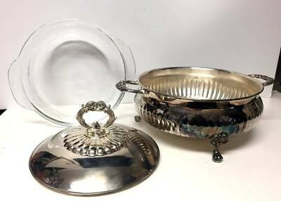 Fonard SILVER Plated CHAFING Serving DISH & FIRE KING Glass BOWL 3pc SET, USA