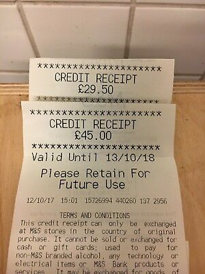 M&S Credit Vouchers - £74.50