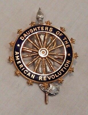 Antique 14K Gold Daughters of the American Revolution DAR Pin Brooch Pendant