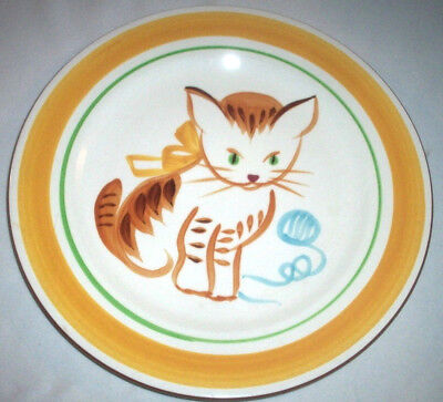 Stangl Pottery Kiddieware:1965 GINGER CAT #5176:Handpainted Child's Plate:EXC:NR