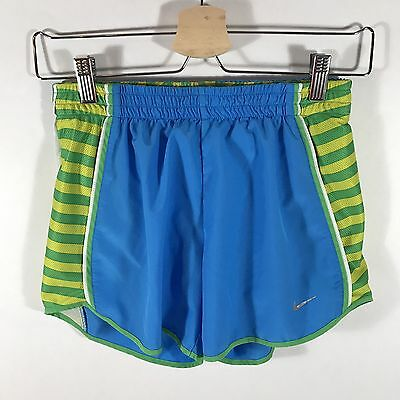 Nike DRI-FIT Women's XS Shorts Running Tempo Athletic Lined Blue Green Yellow