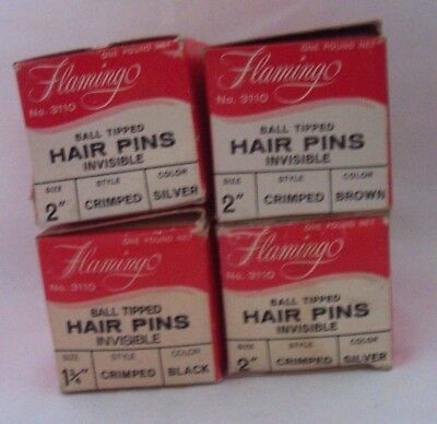Vintage Ball Tipped Crimped Hairpins Invisible Silver, Brown & Black - 4 lb. Lot