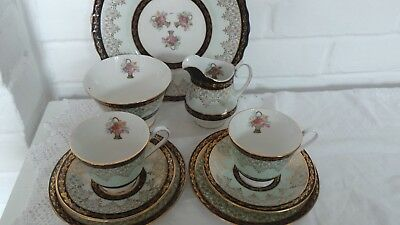 Imperial Blue and Black Vintage China Tea Set for Two, Afternoon Tea