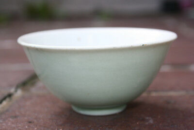 Antique Chinese Porcelain Plain Light Green Small Bowl