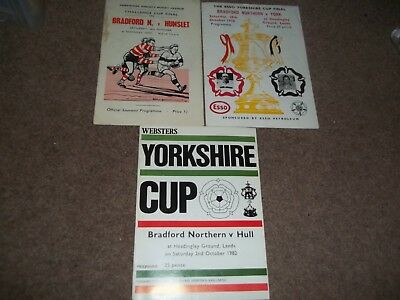 Bradford Northern Yorkshire Cup Final Rugby League Collection 1965 - 1982 X 3