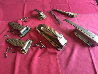 Vintage Brass Door Latches & Hinges Meat Chest- Refrigerator/ walk- in
