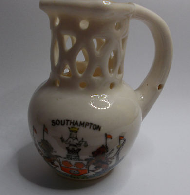 PUZZLE JUG miniature china SOUTHAMPTON vintage 2 and half inch tall curiosity