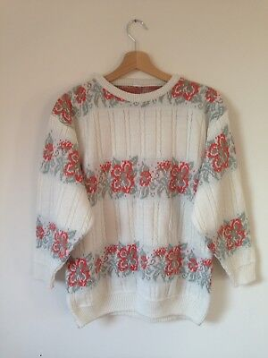Vintage urban outfitters style floral cream jumper 8 10 12