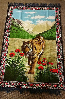 """Vintage  """"tiger Pattern Tapestry"""" Wall Hanging Rug , Made In Turkey"""