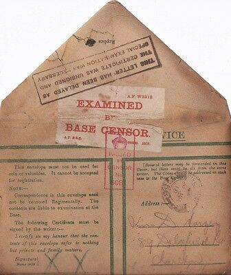 World War I Hand Written Soldiers Letter Home + Envelope 1914-1918 The Great War