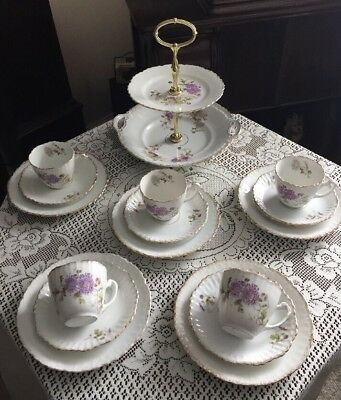 Pretty Antique KPM Berlin Tea Set And Cake Stand Lilac And Gold
