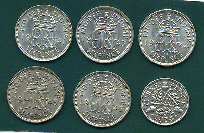 1941, 1943, 1944, 1945, 1946  George Vi Sixpences And 1934 George V Threepence .