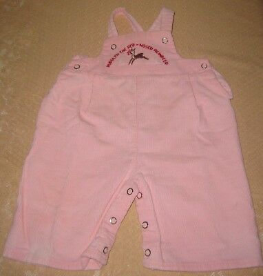 Vintage Baby Girls Overalls Rudolph The Red-Nosed Reindeer Pink Corduroy