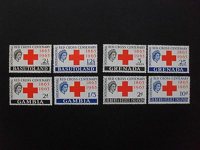 Basutoland, Gambia, Gilbert & Ellice & Grenada 1963. Red Cross. Four Sets. MNH.