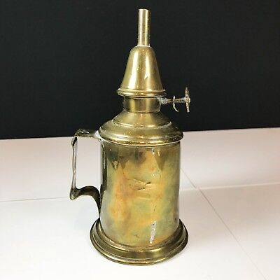 Antique Victorian French Brass Pigeon Depose Oil Lamp Burner - Portable Chamber