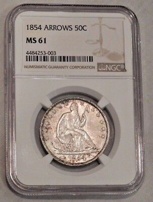 1854 50c Arrows Seated Liberty Half Dollar Silver Coin NGC MS 61