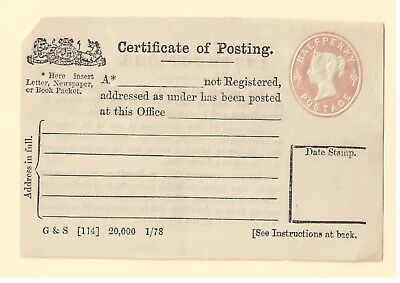 Halfpenny Certificate of Posting embossed QV Postal stationery