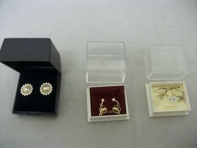 3 Pairs of earrings, 2 x 9ct Gold and 1 Other (0597T-CC)
